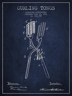 Barber Shop Drawing - Curling Tongs Patent From 1908 - Navy Blue by Aged Pixel