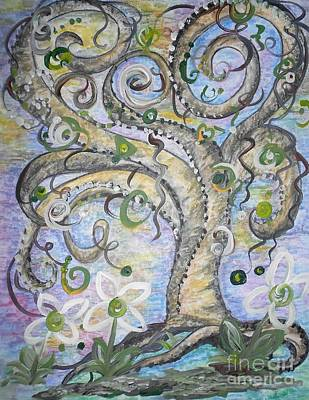 Funky Mixed Media - Curly Tree In Fantasy Land by Eloise Schneider