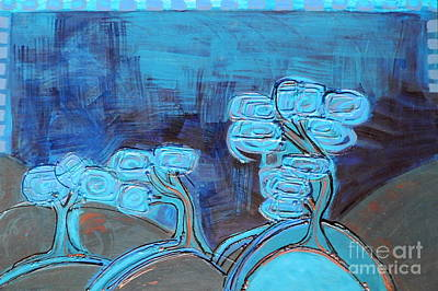 Painting - Curly Trees In Blu by L Cecka
