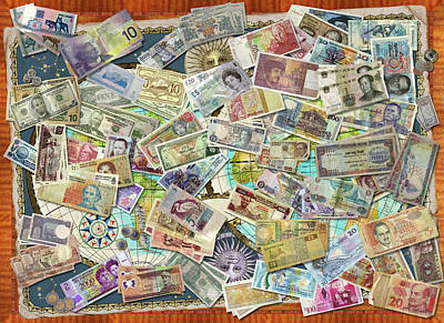 Collages Drawing - Currency Map by Garry Walton