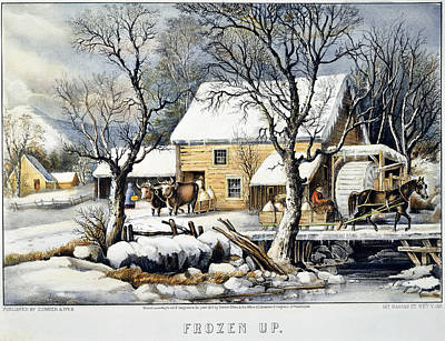 Gristmill Painting - Currier & Ives Winter Scene by Granger