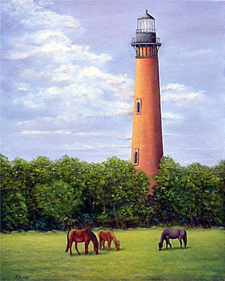 Art Print featuring the painting Currituck Lighthouse by Fran Brooks