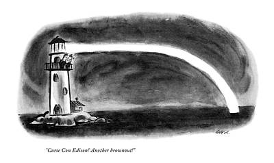 Electricity Drawing - Curse Con Edison! Another Brownout! by Lee Lorenz