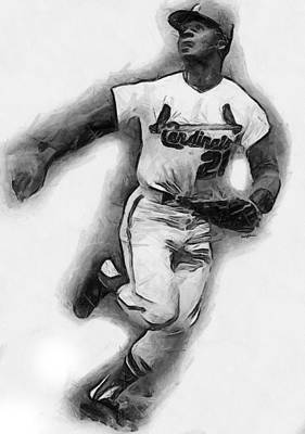 Curt Flood Art Print by Anthony Caruso