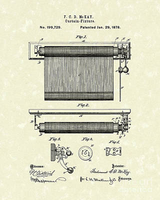 Rod Drawing - Curtain Fixture 1878 Patent Art by Prior Art Design