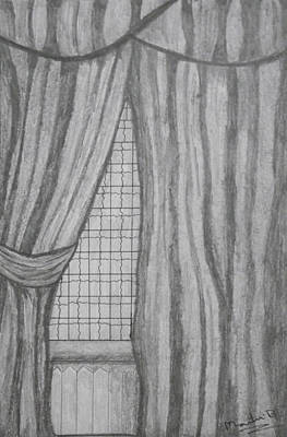 Drawing - Curtains In A5 by Martin Blakeley