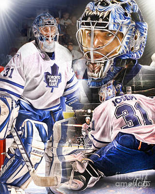 Toronto Maple Leafs Digital Art - Curtis Joseph Collage by Mike Oulton