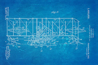 Hydro Wall Art - Photograph - Curtiss Hydroaeroplane Patent Art 1922 Blueprint by Ian Monk