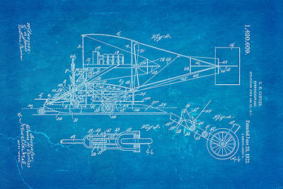 Hydro Wall Art - Photograph - Curtiss Hydroaeroplane Patent Art 2 1922 Blueprint by Ian Monk