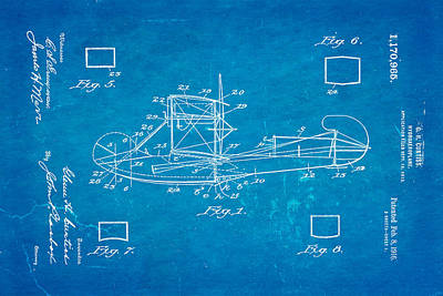 Navy Officer Photograph - Curtiss Hydroplane Patent Art 1916 Blueprint by Ian Monk