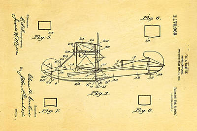 1916 Photograph - Curtiss Hydroplane Patent Art 1916 by Ian Monk
