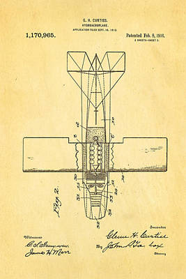 Curtiss Hydroplane Patent Art 2 1916 Art Print by Ian Monk