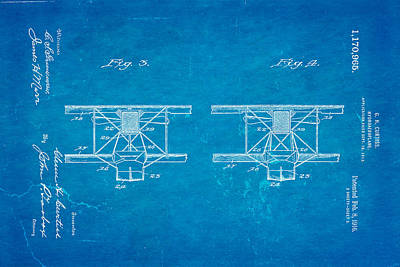 Curtiss Hydroplane Patent Art 3 1916 Blueprint Art Print by Ian Monk