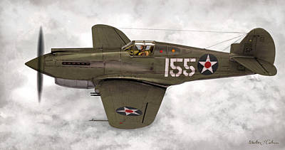 Digital Art - Curtiss P-40 Warhawk by Walter Colvin
