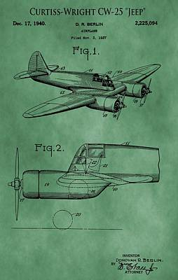 Aviator Mixed Media - Curtiss-wright Patent Green by Dan Sproul
