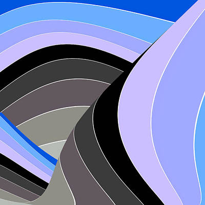 Digital Art - Curves And Stripes In Gray And Blue by Stephanie Grant