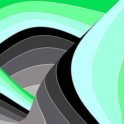 Digital Art - Curves And Stripes In Gray And Green by Stephanie Grant