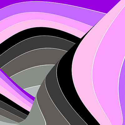 Digital Art - Curves And Stripes In Gray And Purple by Stephanie Grant
