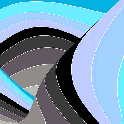Digital Art - Curves And Stripes In Gray And Turquoise by Stephanie Grant