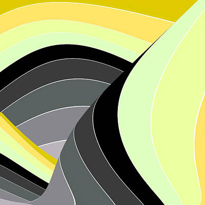 Digital Art - Curves And Stripes In Gray And Yellow by Stephanie Grant