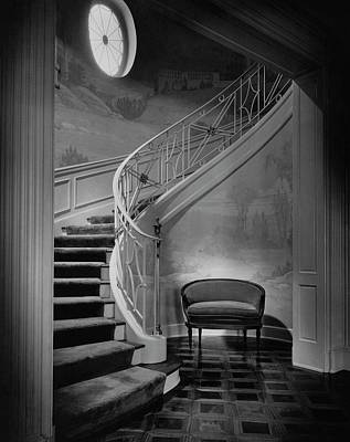 Black And White Photograph - Curving Staircase In The Home Of  W. E. Sheppard by Maynard Parker