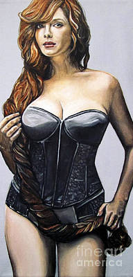 Art Print featuring the painting Curvy Beauties - Christina Hendricks by Malinda  Prudhomme