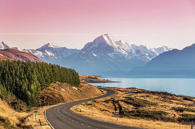 Awe Wall Art - Photograph - Curvy Road Leading To Mt Cook Aoraki At by Matteo Colombo