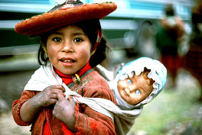 Photograph - Cusco Mtn Girl With Blue-eyed Doll by Robert  Rodvik