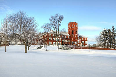 Snow Photograph - Cushing Academy With Snow by Donna Doherty