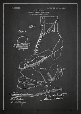 Footwear Digital Art - Cushion Insole For Shoes Patent Drawing From 1905 by Aged Pixel