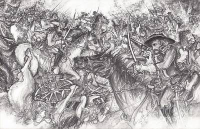Drawing - Custer's Clash by Scott and Dixie Wiley