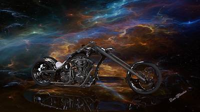 Digital Art - Custom Black Chopper by Louis Ferreira