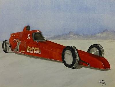 Painting - Custom Built Racing Car In The Bonneville Salt Flats...watercolor by Kelly Mills
