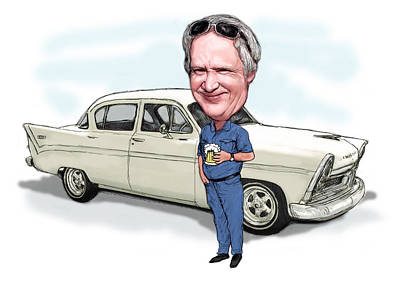 Funny Car Drawing - Custom Caricature From Photo - Man With Car by Kim Wang