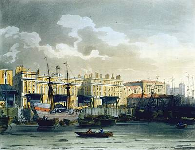 London Drawing - Custom House From The River Thames by T. & Pugin, A.C. Rowlandson
