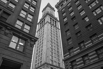 Photograph - Custom House Tower In Boston Black And White  by John McGraw