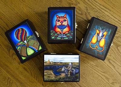 Mixed Media - Custom Made Lacquered Wood Card Boxes by Laurie Tietjen