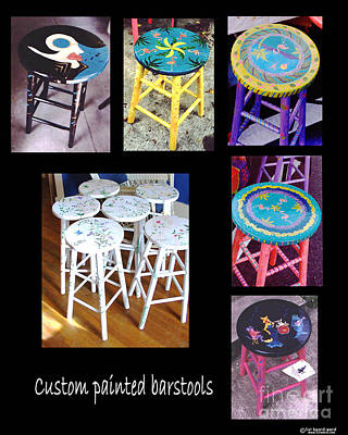 Mixed Media - Custom Painted Barstool Samples by Lizi Beard-Ward
