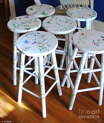 Mixed Media - Custom Painted Set Of Bartstools by Lizi Beard-Ward