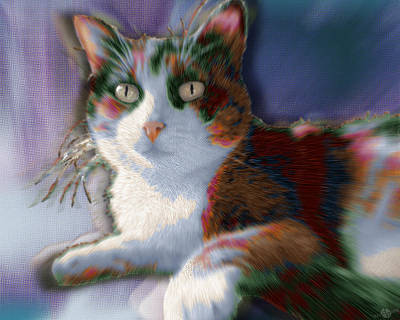 Painting - Custom Pet Portrait Cat 2 by Tony Rubino