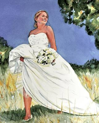 Painting - Custom Portrait Of A Bride by Kathy Flood