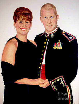 Painting - Custom Portrait Of A Marine And Wife by Kathy Flood