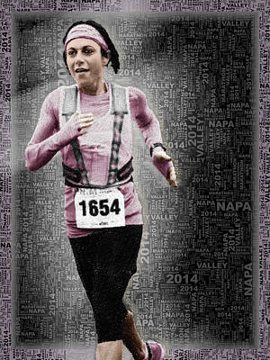 Sports Paintings - Custom Portrait Woman Runs Marathon by Tony Rubino