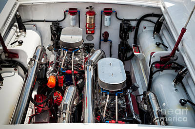 Photograph - Custom Power Boat Engine by Les Palenik