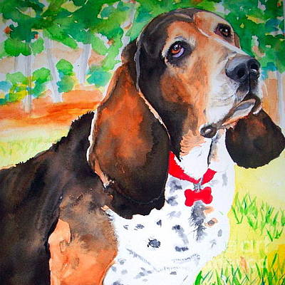 Painting - Custom Watercolor Portrait Of A Basset Hound by Kathy Flood