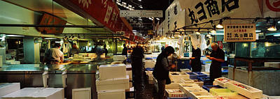 Food Stores Photograph - Customers Buying Fish In A Fish Market by Panoramic Images