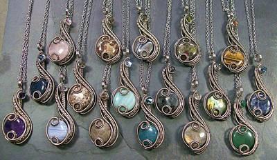 Blue Labradorite Jewelry - Customizable Dark Silver And Swarovski Crystal Coriolis Pendant by Heather Jordan