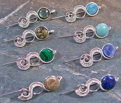 Silver-filled Jewelry - Customizable Gemstone Coin And Silver Woven Tail Shawl Pin/brooch by Heather Jordan