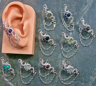 Ear Cuff Jewelry - Customizable Gemstone Floral Ear Cuff With Chain by Heather Jordan