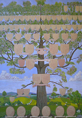 Family Tree Painting - Customized Family Tree Chart Clouds And Hills by Alix Mordant